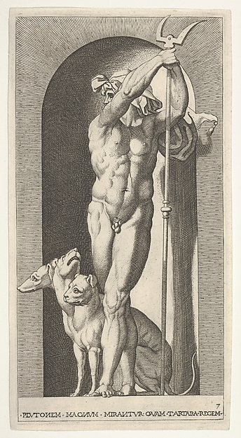 Plate 7: Pluto in a niche, holding a forked staff and wearing cloth headgear, with Cerberus at his feet, from the series 'Mythological gods and goddesses'