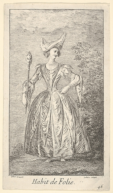 Plate 46: Habit de Folie: a woman in a ballet pose, wearing a bonnet and holding a marotte in her right hand,  from 'New designs for costumes' (Nouveaux desseins d'habillements à l'usage des balets operas et comedies)