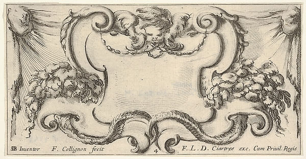 Plate 4: a cartouche with the head of a cherub at top center, leaves and flowers to either side, from 'Twelve cartouches' (Recueil de douze cartouches)