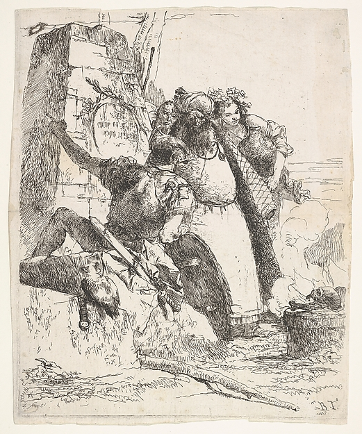 Fascinating Historical Picture of Giovanni Battista Tiepolo with A scene of necromancy| a woman bearing a vessel a turbaned man and a soldier look toward a pedesta in 1743