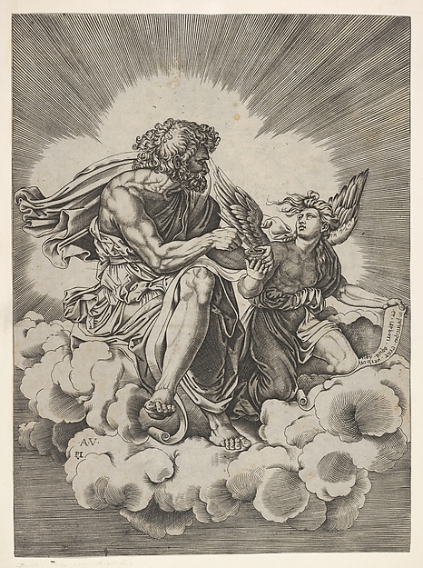 St. Matthew, seated on a cloud with legs crossed and dipping a quill into an inkwell held by an angel, who also holds an inscribed scroll, from a series of the four evangelists after Agostino Veneziano, which are in turn after Giulio Romano