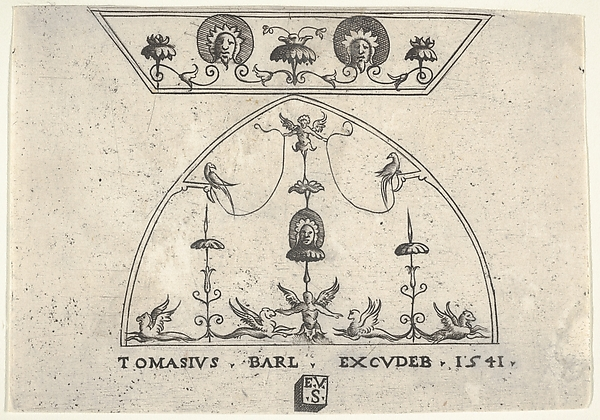 This is What Enea Vico and Two panels of grotesque decoration with winged human figures birds and griffins from a series of Looked Like  in 1541