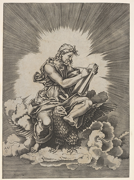St. John, seated and holding a writing instrument to a tablet, an eagle with outstretched wings below his legs, from a series of the four evangelists after Agostino Veneziano, which are in turn after Giulio Romano