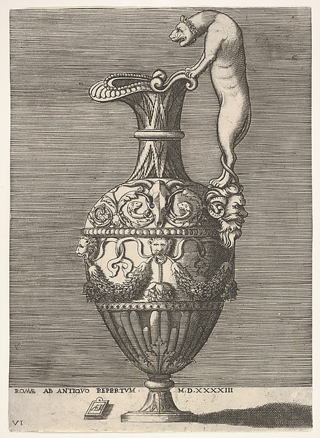 Fascinating Historical Picture of Enea Vico with Antique Ewer with a Handle in the Shape of a Lioness from Vases after the Antique in 1543