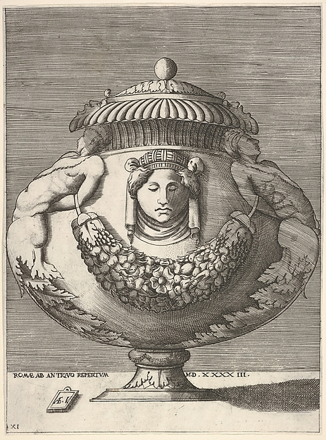Fascinating Historical Picture of Enea Vico with Antique Lidded Urn with Hybrid Male Sphinxes and a Female Mask on the Body from Vases after the Ant in 1543