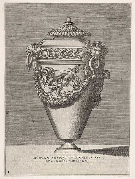 Fascinating Historical Picture of Enea Vico with Antique Lidded Urn Decorated with a Motif of Diamond Rings and Lions from Vases aftetr the Antique in 1543