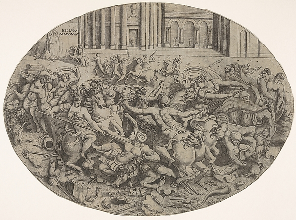 Fascinating Historical Picture of Enea Vico with Combat between Amazons and men in front of architectural arcades an oval composition with weapons in 1543