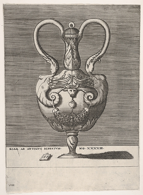 Fascinating Historical Picture of Enea Vico with Antique Lidded Vase with Two Handles emerging from the Heads of Hybrid Female Sphinxes from Vases a in 1543