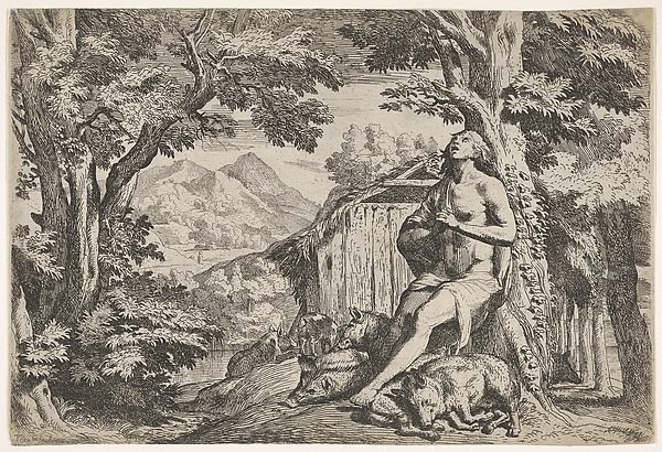 The prodigal son seated at the base of a tree among swine, his gaze directed upward and his hands folded at his chest, surrounded by a wooded landscape and a pigsty