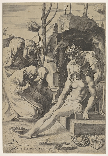 Fascinating Historical Picture of Enea Vico with Entombment of Christ whose chest is grasped by Joseph of Arimathea with two kneeling and two stand in 1543