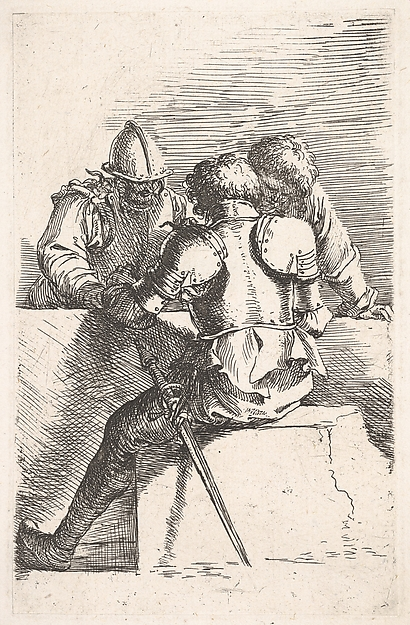 Fascinating Historical Picture of Salvator Rosa with Three warriors conversing at a low wall one with his back turned from the series Figurine in 1656