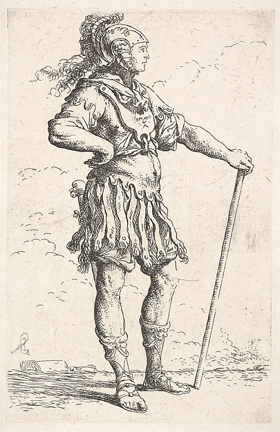 Fascinating Historical Picture of Salvator Rosa with A warrior facing right wearing a plumed helmet and holding a staff from the series Figurine in 1656