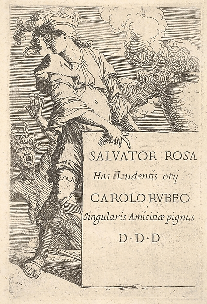 Frontispiece: a man in a plumed hat points toward a block inscribed with the dedication text while looking over his right shoulder at a screaming man with upraised hair and arm (personification of Envy?), from the series 'Figurine'