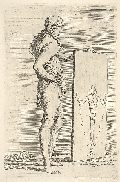 Fascinating Historical Picture of Salvator Rosa with A figure supporting a tablet with a representation of a herm of Diana of Ephesus from the series F in 1656