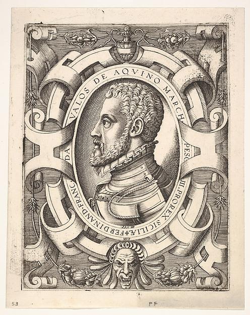 Bust portrait of Ferdinando Francesco de Avalos, marquis of Pescara, in an oval ornamented frame