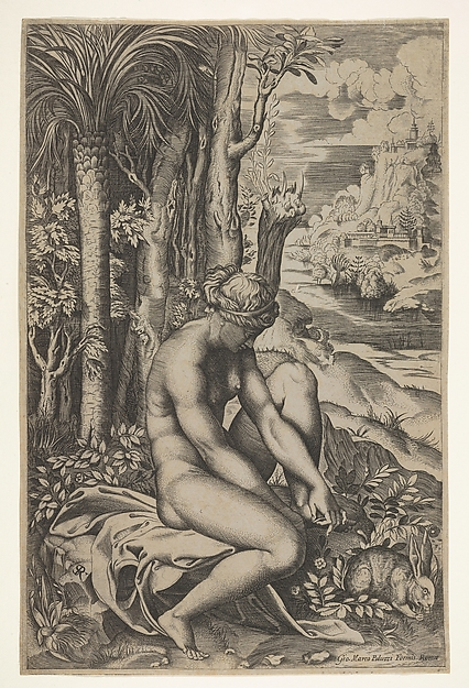 Venus removing a thorn from her left foot while seated on a cloth beside trees and foliage, a hare eats grass before her