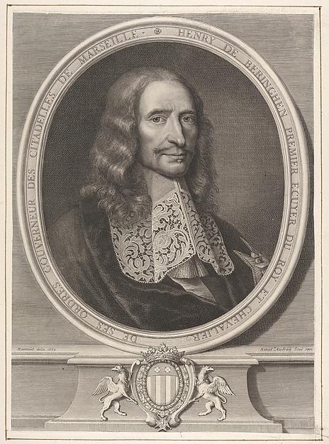 Fascinating Historical Picture of Elder with Henry de Beringhen Premier Ecuyer du Roy et Chevalier de ses Ordres Gouverneur des Citadelles de Mar in 1710