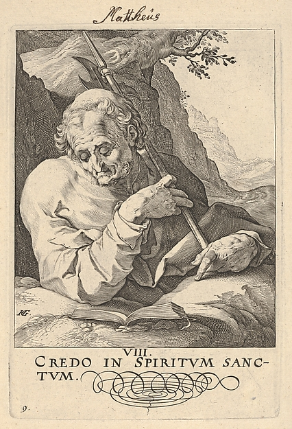 St. Matthew, show in half-length behind a ledge, with an open book before him and an axe resting against his shoulder, from the series 'Christ and the Apostles'
