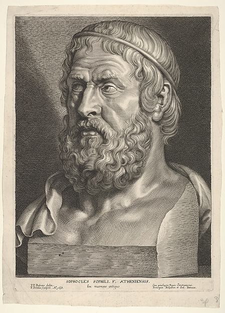 Fascinating Historical Picture of Paulus Pontius with Sophocles (after Rubens) in 1638