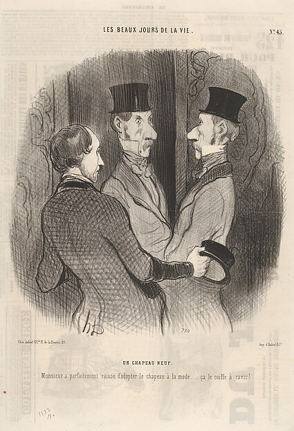 Fascinating Historical Picture of Honor Daumier with Un chapeau neuf plate 45 from the series Les beaux jours de la vie published in Le Charivari on 3/6/1845