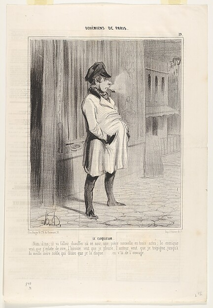 Fascinating Historical Picture of Honor Daumier with Le claqueur plate 19 from the series Bohmiens de Paris published in Le Charivari on 2/13/1842
