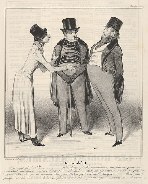 Fascinating Historical Picture of Honor Daumier with Un Candidat plate 48 from the series Caricaturana published in Le Charivari on 5/18/1837