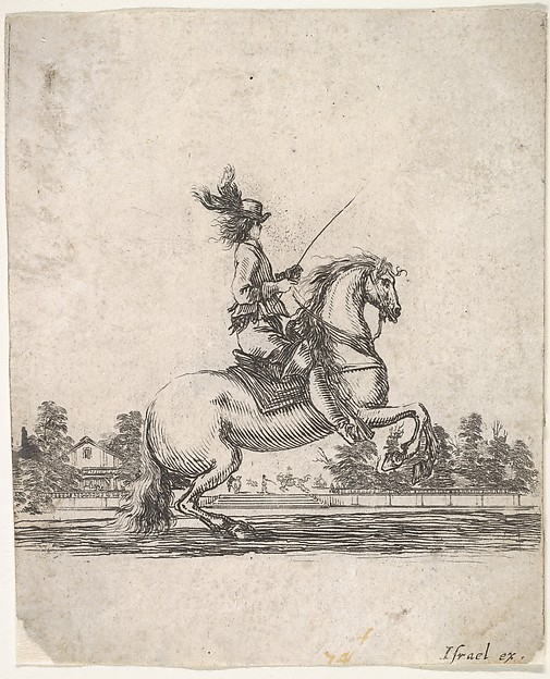 A horseman atop a rearing horse, in profile and turned towards the right, gardens in the background, from 'Various cavalry exercises' (Diverses exercices de cavalerie)