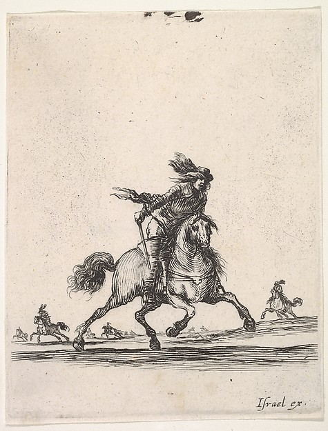 A horseman galloping towards right with sword in hand, other horsemen in the background, from 'Various cavalry exercises' (Diverses exercices de cavalerie)