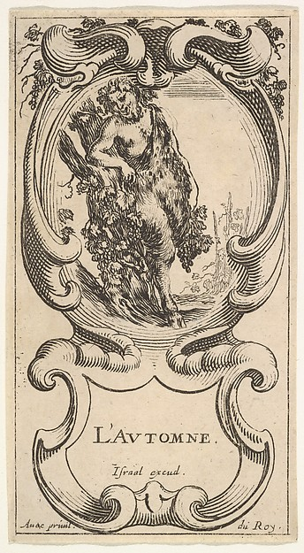 Fascinating Historical Picture of Stefano della Bella with Autumn a satyr with his right arm on top of a tree trunk on which a vine is growing and carrying gr in 1638