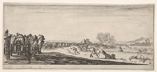 Fascinating Historical Picture of Stefano della Bella with A procession of horse-drawn cannon carriages to left horsemen in combat and a dead horse to right in 1638