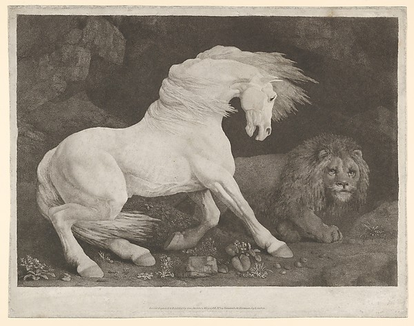 Fascinating Historical Picture of George Stubbs with A Horse Affrighted at a Lion on 5/1/1788