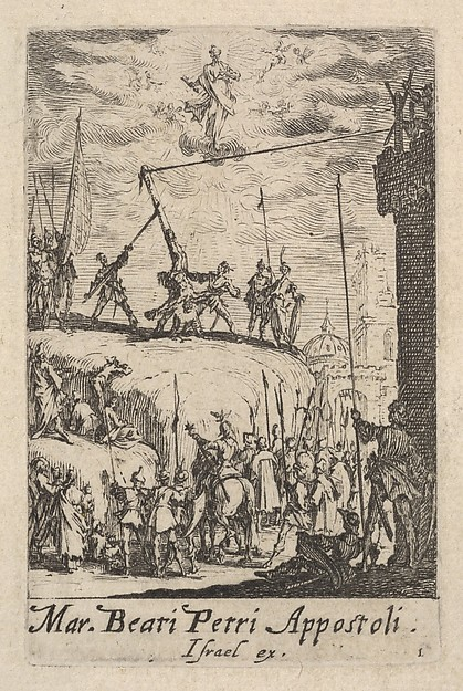 This is What Jacques Callot and Martyrdom of Saint Peter from the series The little apostles (Les petits aptres) Looked Like  in 1632