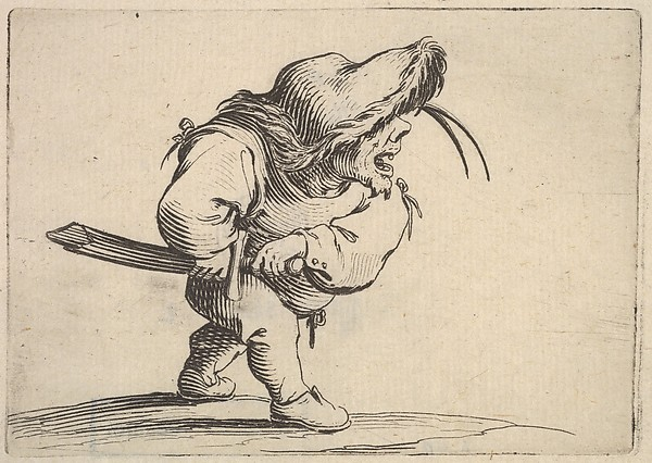 Fascinating Historical Picture of Jacques Callot with Small male figure stopping to draw his sword in profile view with open mouth and left foot position in 1621