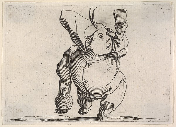 Fascinating Historical Picture of Jacques Callot with Small male figure in feathered cap with upraised hand holding a cup and other hand grasping a handle in 1621