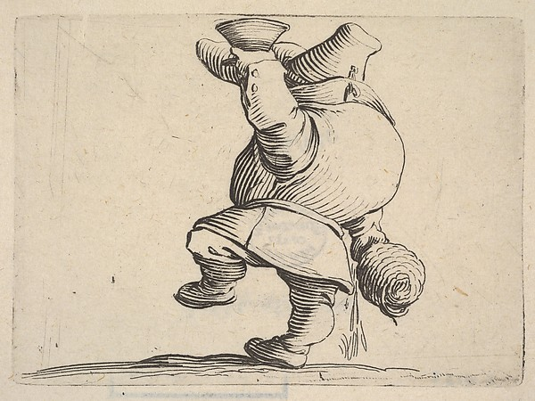 Fascinating Historical Picture of Jacques Callot with Small male figure in profile view whose face is hidden by his upraised arm holding a cup with lower in 1621