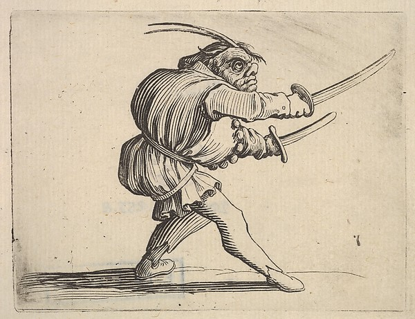 Fascinating Historical Picture of Jacques Callot with Masked small figure with a sword in both hands in profile view striding to the right from the ser in 1621