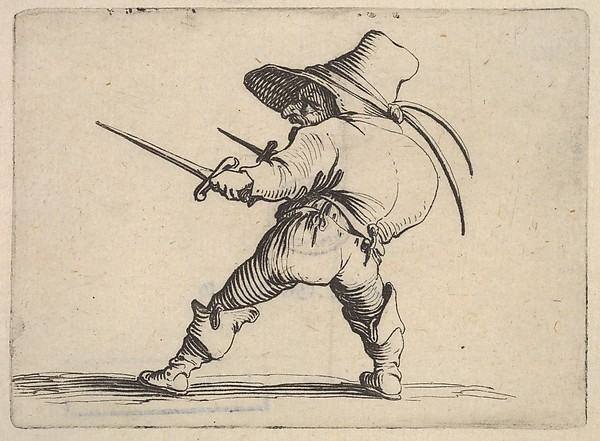 Fascinating Historical Picture of Jacques Callot with Small male figure wearing a hat with daggers in both hands and placing his weight on his right foo in 1621