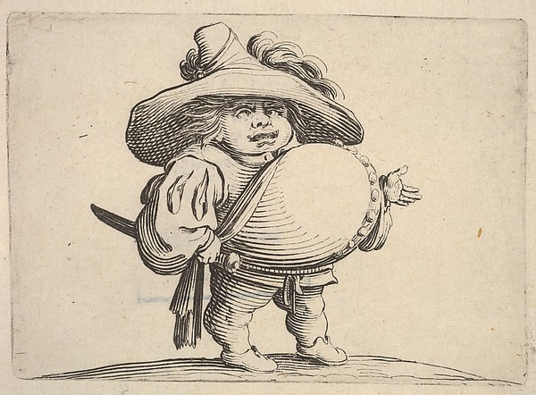 Small male figure in three-quarter view with outstreched left hand and right hand grasping sword at hip, from the series 'Varie figure gobbi'