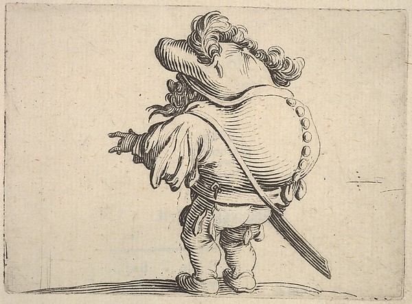 Fascinating Historical Picture of Jacques Callot with Small male figure with outstreched left hand seen from the back which bulges from the series Var in 1621