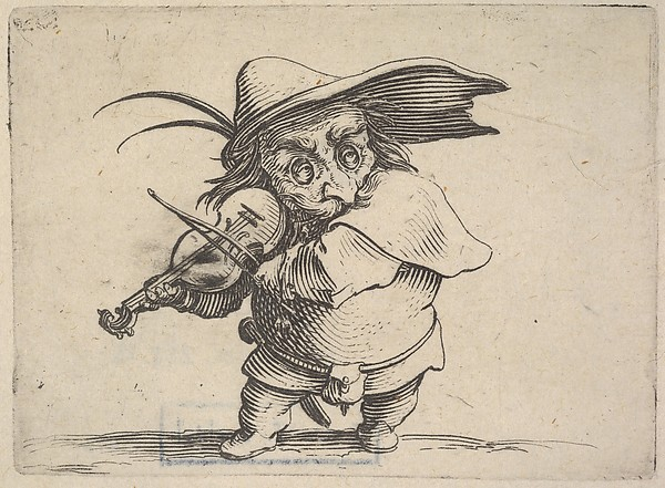 Fascinating Historical Picture of Jacques Callot with Small masked male figure playing a violin from the series Varie figure gobbi in 1621