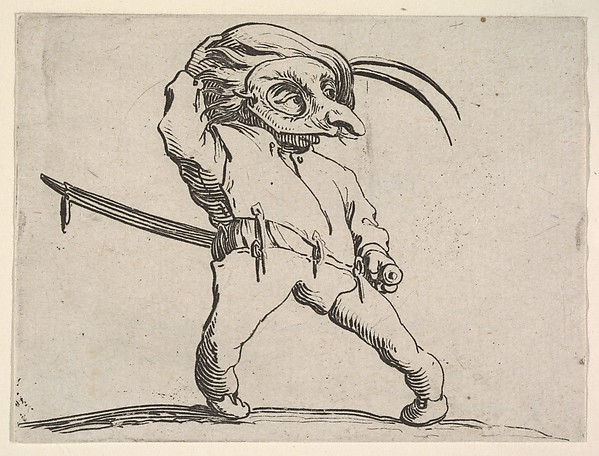 Fascinating Historical Picture of Jacques Callot with Masked small male figure with right hand grasping hat and left hand grasping sword hilt from the s in 1621