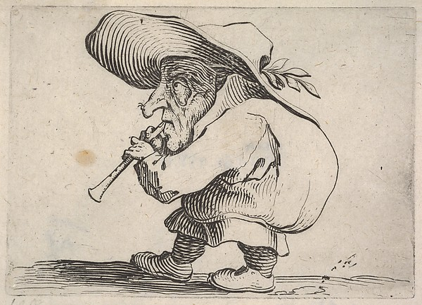 Fascinating Historical Picture of Jacques Callot with Small male figure playing a wind instrument in profile view from the series Varie figure gobbi in 1621