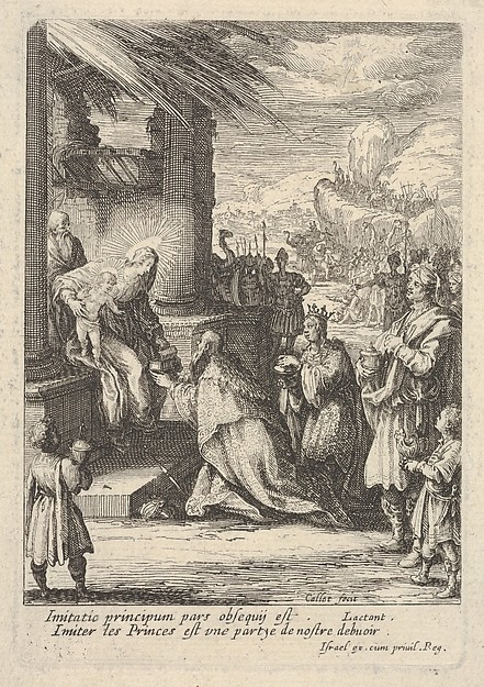 Fascinating Historical Picture of Jacques Callot with Adoration of the Magi with Mary bracing Jesus with her right hand and reaching for a gift with her in 1621