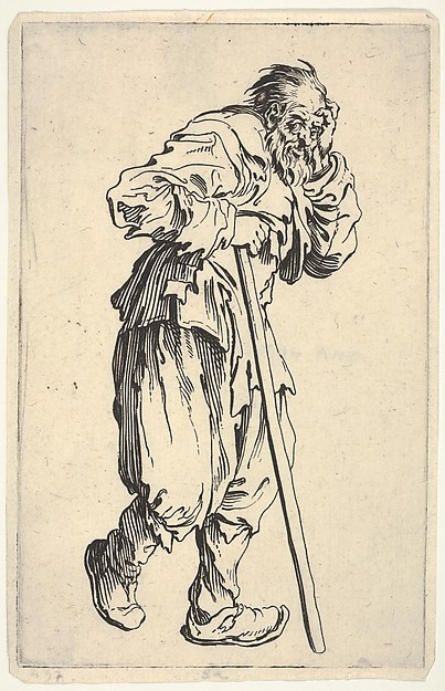 Fascinating Historical Picture of Jacques Callot with Bearded man dressed in rags holding his head with one hand and a walking stick with the other fro in 1622