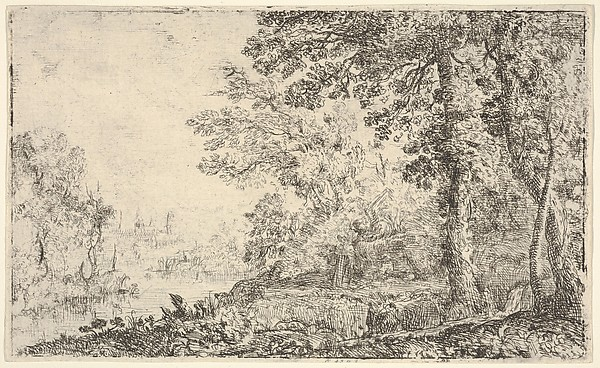 Fascinating Historical Picture of Claude Lorrain with A landscape with a monk and an angel in the center a town to the left (The Vision) in 1630