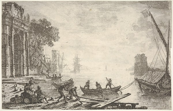 Harbor with rising sun, figures in foreground, colonnade on left