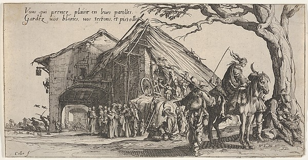 Fascinating Historical Picture of Jacques Callot with The stopping place of the gypsies| the fortune-tellers (La Halte des bohmiens| les diseuses de b in 1621