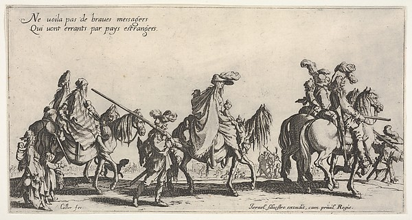 Fascinating Historical Picture of Jacques Callot with The Marching Gypsies (Les bohmiens en marche) also called The Advance Guard (Lavant-garde) in 1621