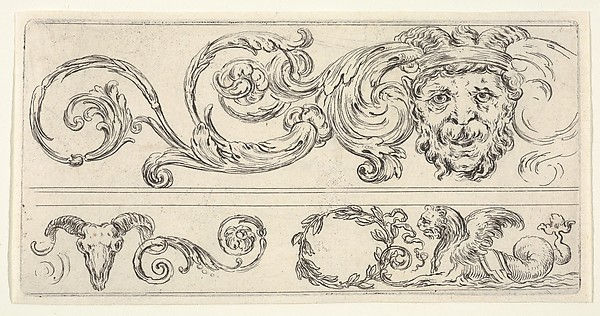 Fascinating Historical Picture of Stefano della Bella with Plate 2| three fragments of friezes; on top a grotesque head of a man a skull of a ram at bottom l in 1638