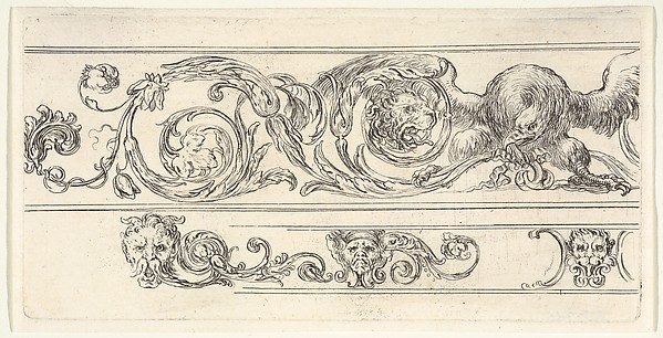 Fascinating Historical Picture of Stefano della Bella with Plate 7| two friezes; at top an eagle and the head of a lion at bottom a lion head and two grotes in 1638